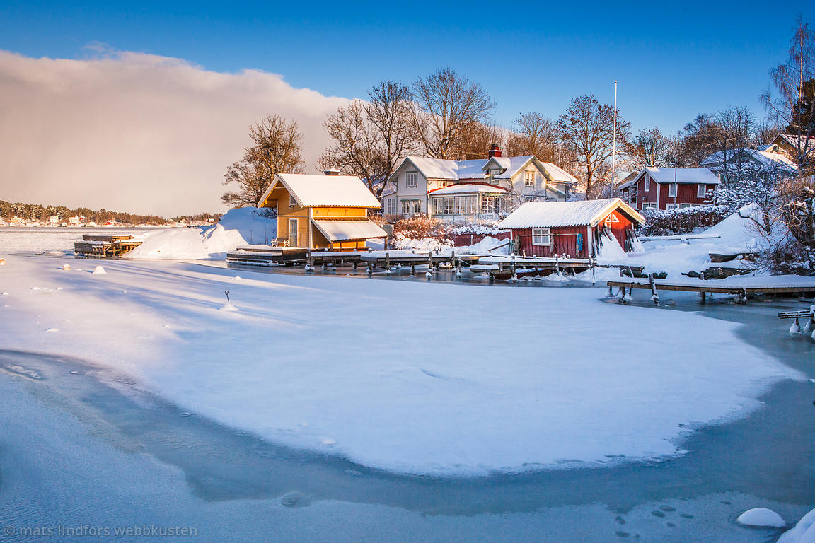Is vinter snö Norrhamn Vaxholm