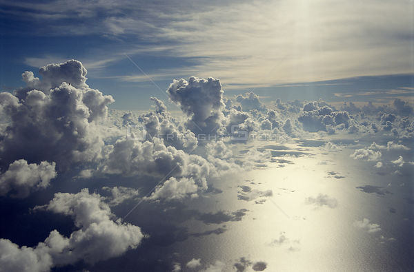 Aerial view of clouds and sea.