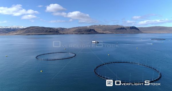 Icelandic Ocean Fish Farm Pens Aerial Fly Over West Fjords Iceland
