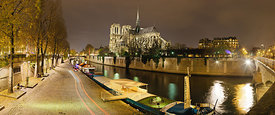 Notre Dame Cathedral from Archevêché Bridge at night, Paris
