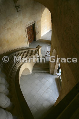 Stairway of the sixteenth century Palacio de Carlos V (Palace of Charles V), Alhambra, Granada, Andalusia, Spain