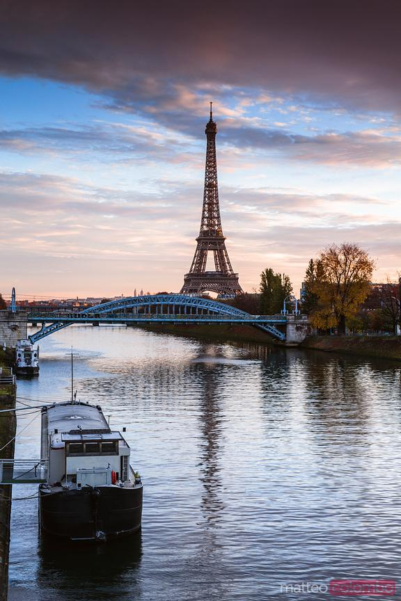 Sunrise on Eiffel tower and river Seine, Paris