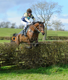 Dominic Gwyn-Jones jumping the last hedge - Harborough Ride 2014
