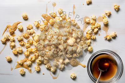 Maple butter popcorn drizzled with maple syrup.