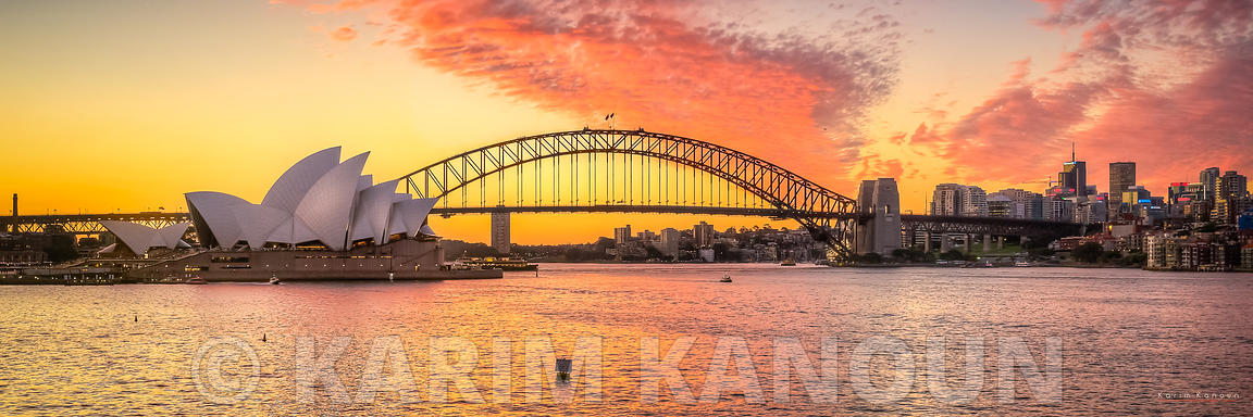 Panorama - Sydney Opera House at Sunset Time