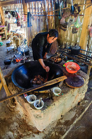 Cooking in Hmong Village Hut