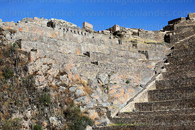 View of Inca terraces from below, Ollantaytambo, Sacred Valley, Peru
