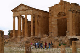 Temple of Minerva to the left and the Temple of Jupiter as viewed from across the forum, Sbietla Tunisia; Landscape