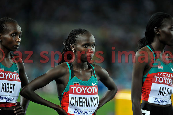 Sylvia Kibet and Vivian Cheruiyot from Kenya at the stsrting point of the 500m final at the 2011 IAAF World Championships,Ath...
