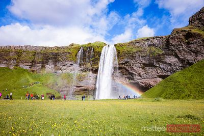 Seljalandsfoss waterfall at daytime in summer, Iceland