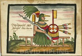 .Huitzilopochtli, Tovar Manuscript, plate XIX, Huitzilopochtil the Mexican Azteck deity shown swathed in the plumes of Quetzals.