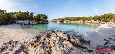 Panoramic of beach at sunrise, Cala Turqueta, Menorca