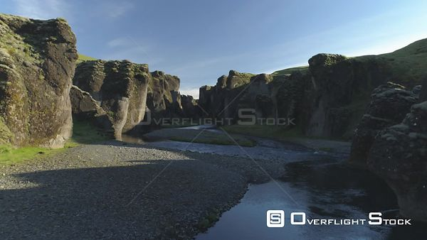 Fjadragljufur Glacial Canyon Riverbed Iceland, Drone Aerial Revealing Shot, Morning Light