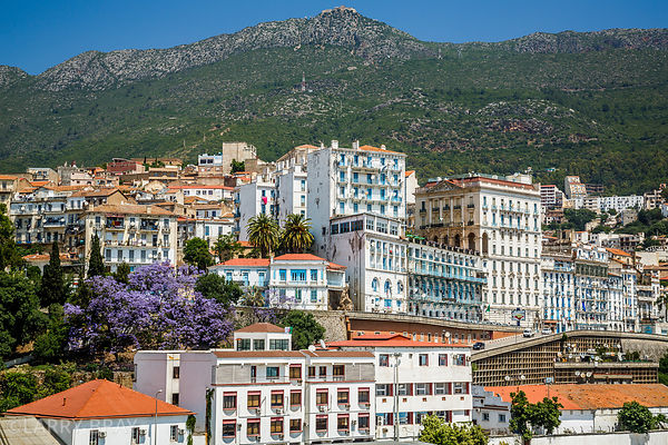 View from harbour across the city of Bejaia, Algeria