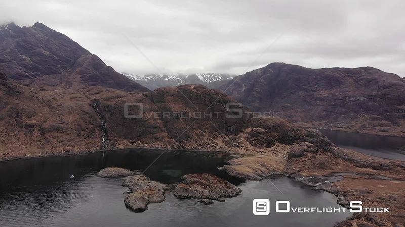 Aerial drone shot of Black Cuillin and loch Coruisk on Isle of Skye, Scotland