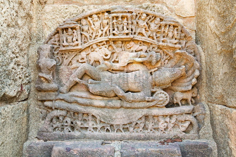 Lord Shiva Lying with a Seven-Headed Serpent