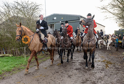 Ashley Bealby, William Bell, Tim Brown leaving the meet. The Cottesmore Hunt at Launde Park Farm