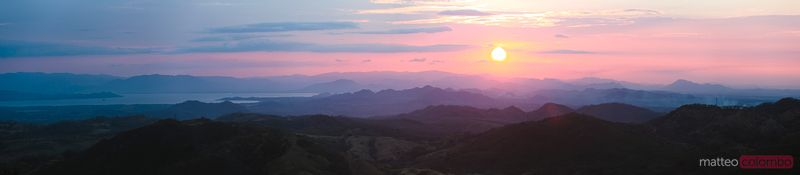 Panoramic landscape at sunset, Monteverde, Costa Rica