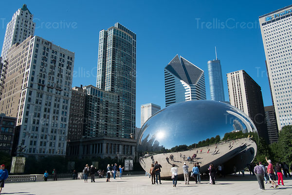 The 'Bean' at Millennium park with reflection of buildings on Michigan Avenue