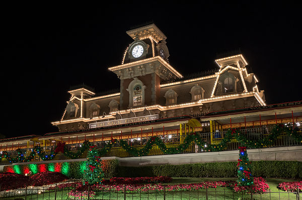 Main Street Train Station Decorated for Christmas | Color Print