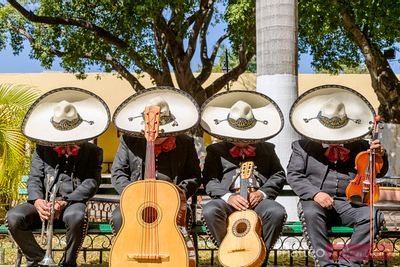 Musicians with sombrero doing a siesta, Yucatan, Mexico