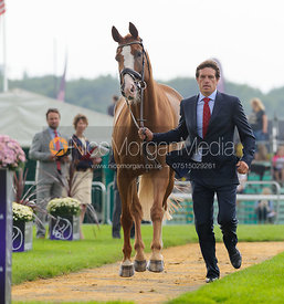 Kai Ruder and GRYFFINDOR - The first vets inspection (trot up),  Land Rover Burghley Horse Trials, 3rd September 2014.