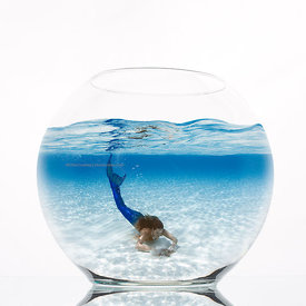 fishbowl with mermaid composite inside