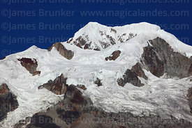 Close up of glaciers of Mt Illampu, seen from near Sorata, Bolivia