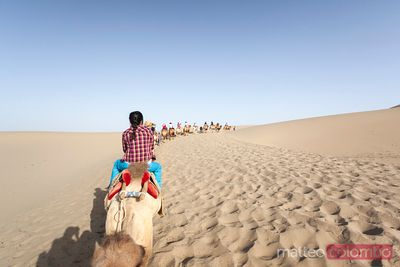 Chinese young woman riding a camel in the desert, China