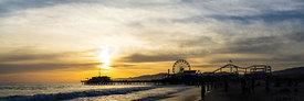 Santa Monica Pier Sunset Panorama Photo
