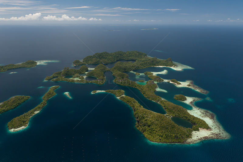 Aerial view of Raja Ampat's islands, sand cays and lagoons. A pearl farm operates in these waters. West Papua, Indonesia, Feb...