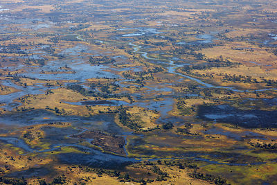 Aerial view of the Okavango Delta, with high water, Okavango Delta, Botswana,  June 2014 .