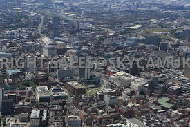 Manchester looking down Newton Street towards Piccadilly Plaza and Gardens and City Tower with One St Peters Square Mosley St...