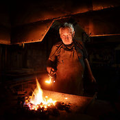 Old-Fashioned Blacksmith at work