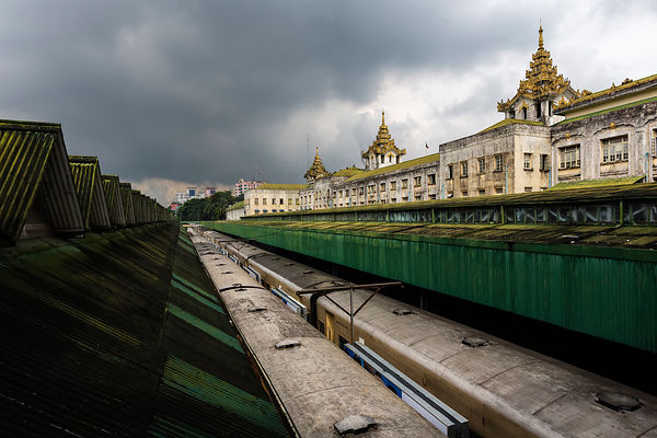 Trains at the Yangon Station