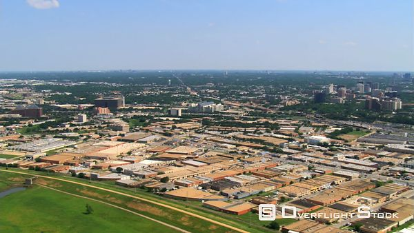 Aerial view to the east over Dallas, Texas.