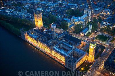 Aerial of Parliament, Thames River in the early evening.