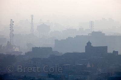 Heavy smog from air pollution over Jodhpur, Rajasthan, India
