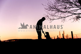 Silhouette of a man and his dog