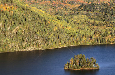 Aerial view of island within Wapizagonke lake, Mauricie National park, Quebec, Canada, September 2001
