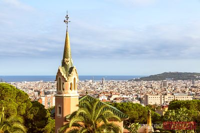 Park Guell and city of Barcelona, Catalonia, Spain