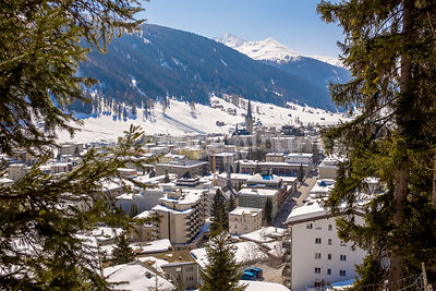 High view over Davos, the home of the World Economic Forum - Royalty free stock photo