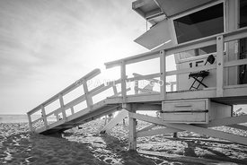 Lifeguard Tower 15 Santa Monica Black and White Photo