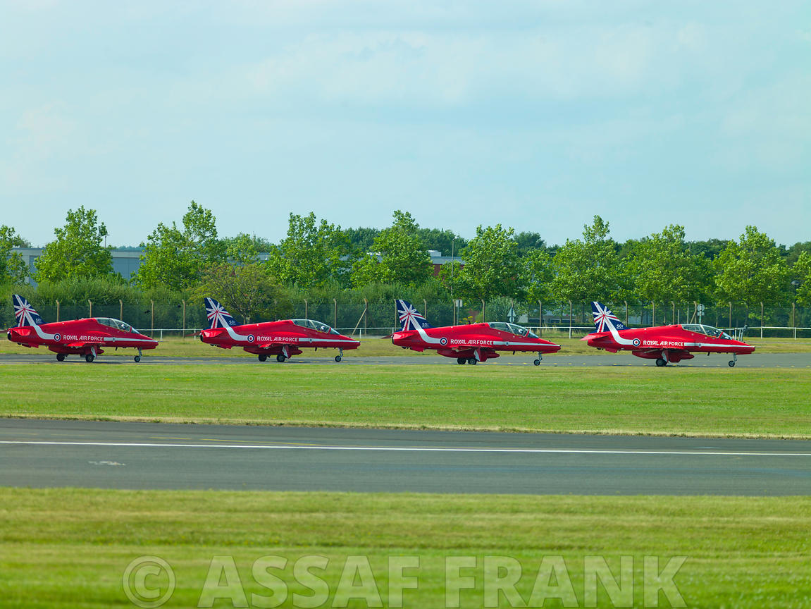Lineup of Red Arrows aircrafts before take-off