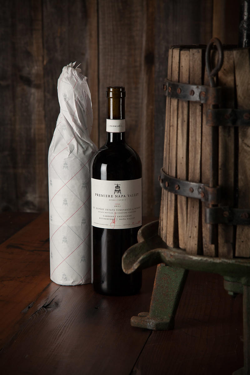 Styled wine bottle photography in Napa Valley, California