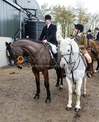 Tim Hercock, Ned Hercock at the meet. The Cottesmore Hunt at Launde Park Farm