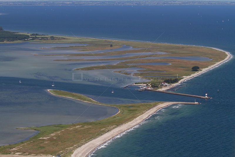 Aerial view of Oehe-Schleimuendung nature reserve at the mouth of the river Schlei, Baltic Sea, Schleswig-Holstein, Germany, ...