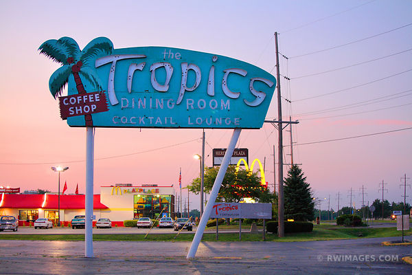THE TROPICS DINING ROOM SIGN ROUTE 66 COLOR