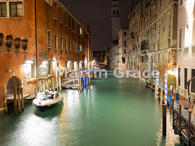 Rio dei Greci from Ponte della Pieta, illuminated at night, Venice, Italy