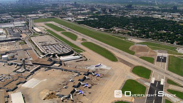 Aerial view of Love Field runway and terminal in Dallas, Texas.